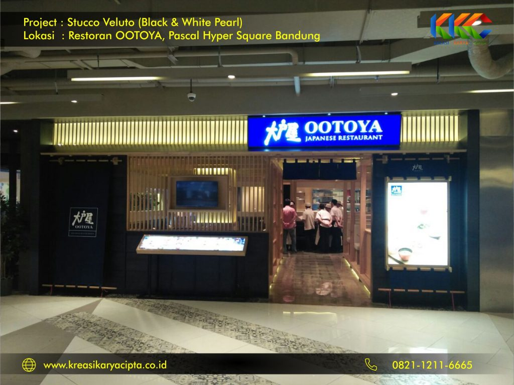 Project Cat Stucco Veluto White and Black Pearl Restoran OOTOYA Pascal Hyper Square Bandung 3