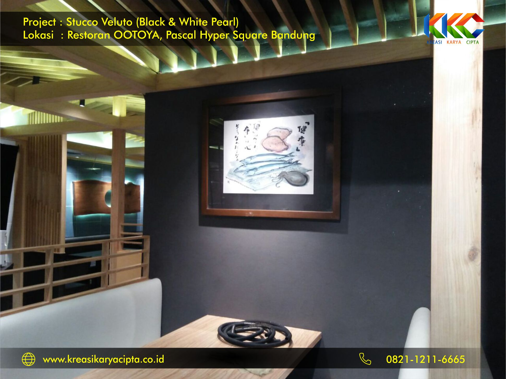 Project Cat Stucco Veluto White and Black Pearl Restoran OOTOYA Pascal Hyper Square Bandung 2