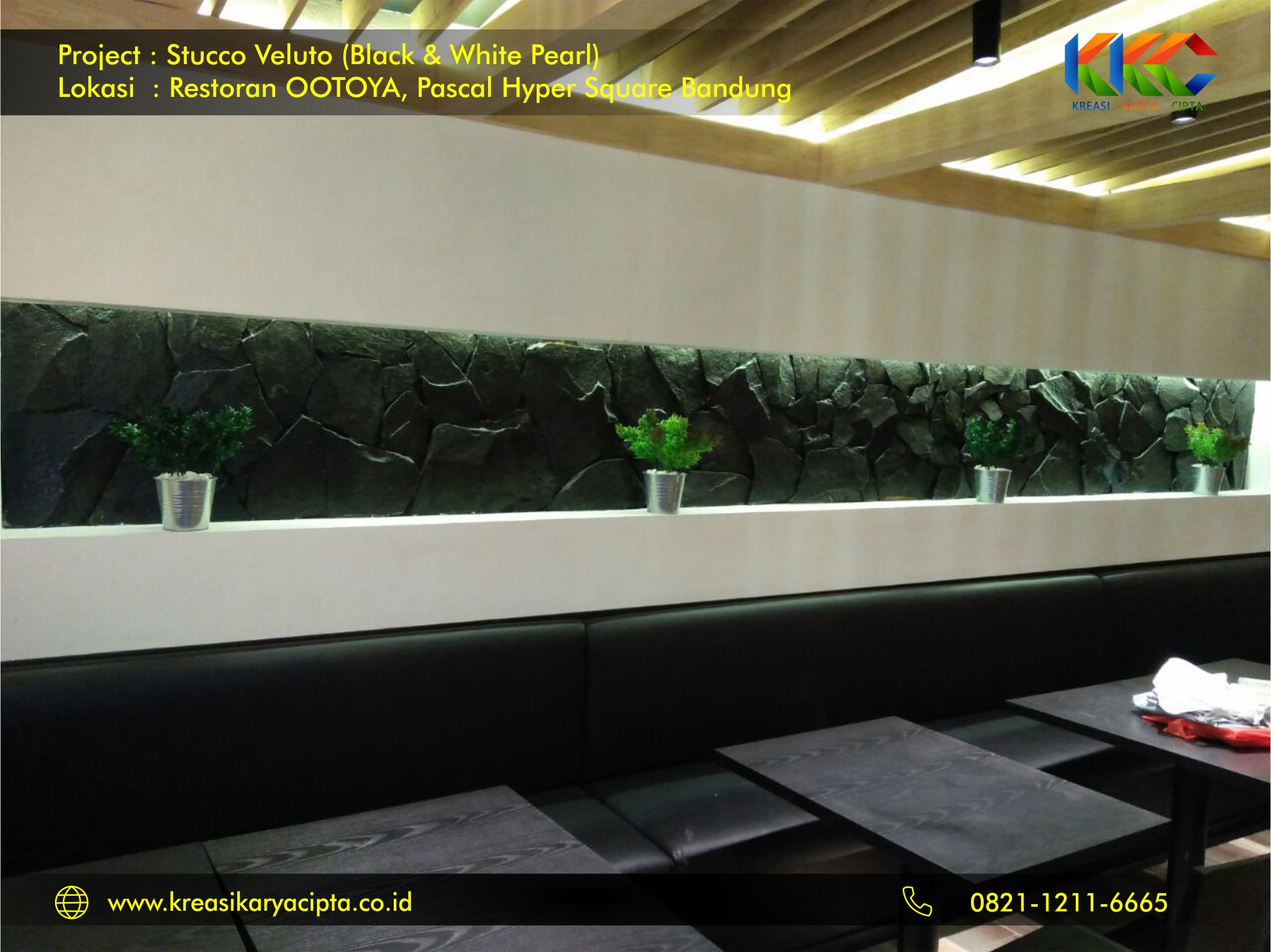 Project Cat Stucco Veluto White and Black Pearl Restoran OOTOYA Pascal Hyper Square Bandung