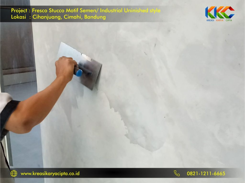 project cat fresco stucco motif semen industrial unfinished style bandung