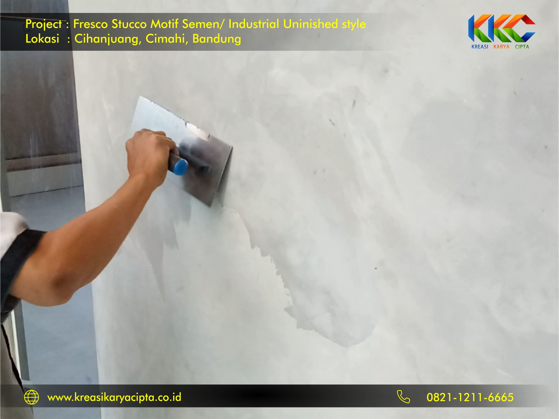 project fresco stucco motif semen industrial unfinished style bandung