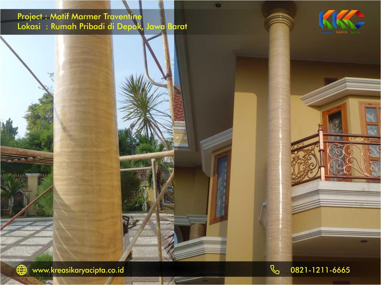 motif marmer traventine pada tiang pilar rumah di depok 2