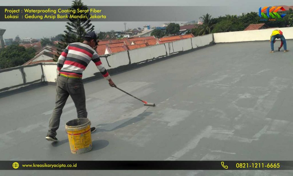 waterproofing coating serat fiber gedung arsip bank mandiri 1