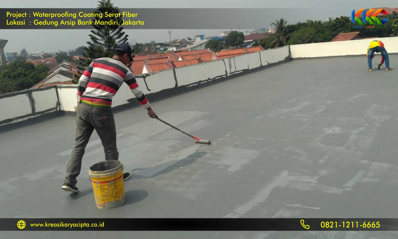 waterproofing coating serat fiber gedung arsip bank mandiri 1