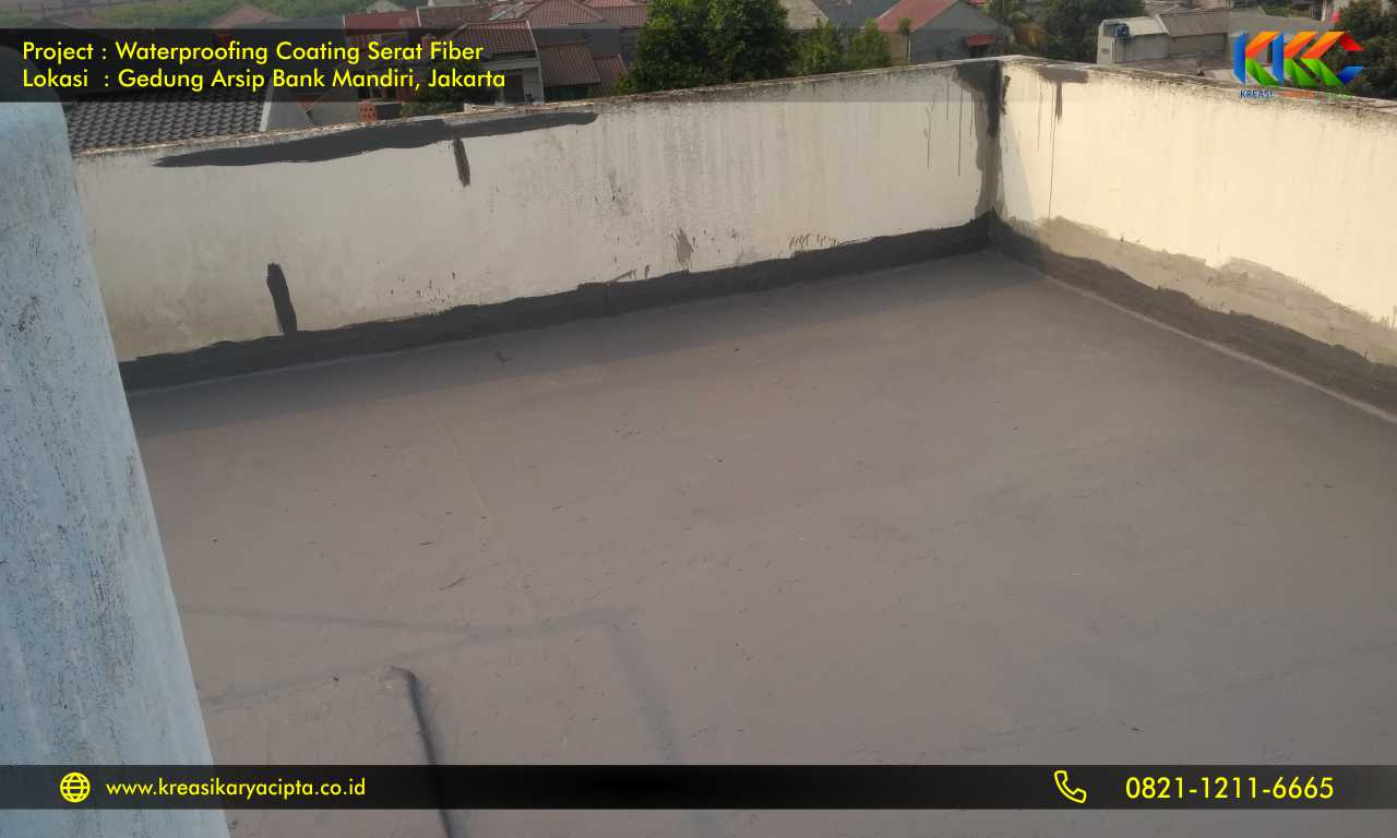waterproofing coating serat fiber gedung arsip bank mandiri 3