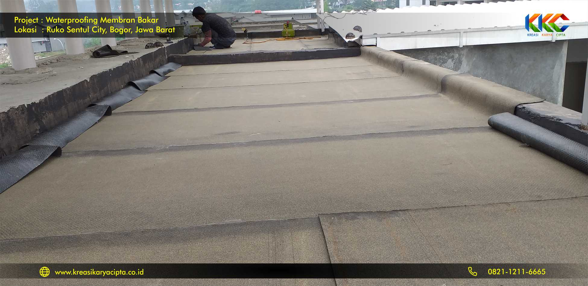 waterproofing membran bakar ruko sentul city 4