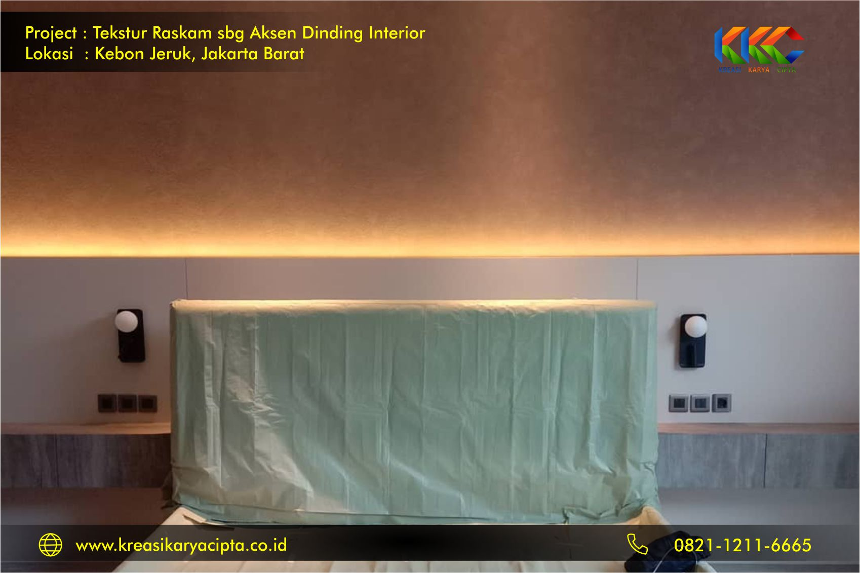 Project pengecatan Tekstur Raskam di Daerah Kebon Jeruk, Jakarta Barat